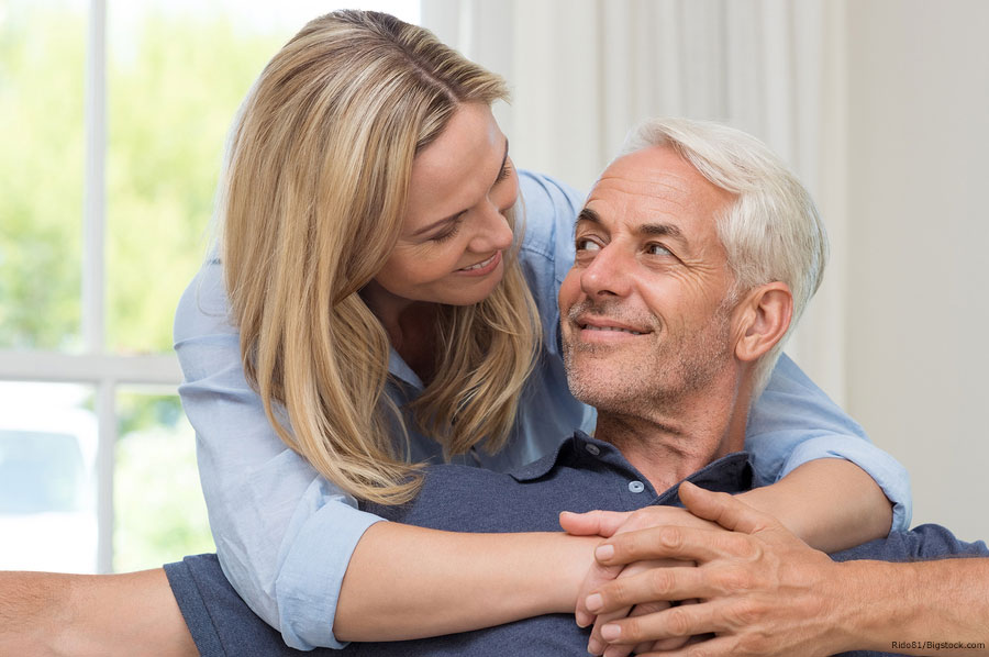 Penile Injections for ED Cost Older Couple Hugging